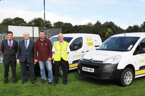 From left, Glenn Stuart, the council's head of waste management, Cllr Tony Cummings, deputy cabinet member for the environment, Cllr Alan Quinn, cabinet member for the environment and Pete Burns, senior supervisor street cleansing.