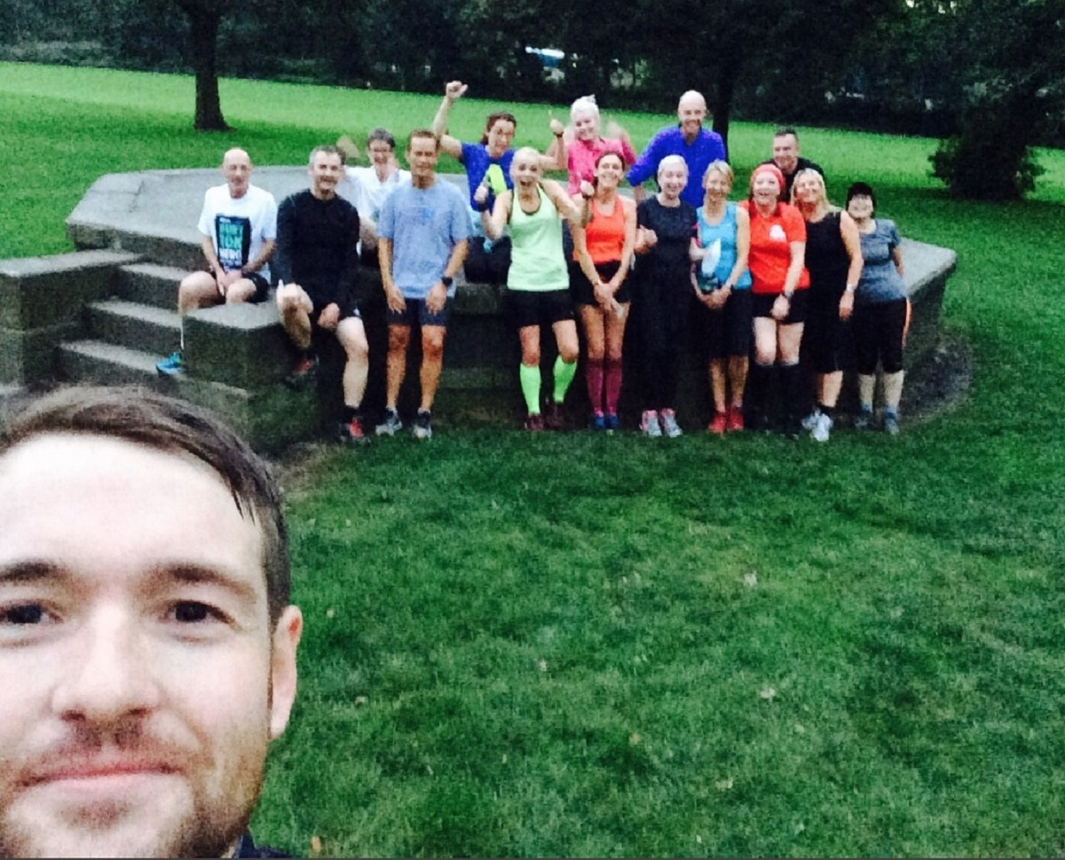 Ramsbottom Running Club founder Rowan Ardill takes a selfie with club members