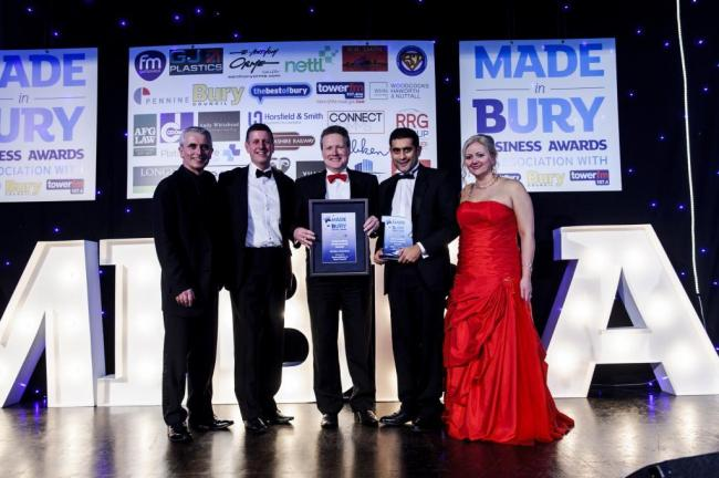 From left, Phil Fellone, of The Best of Bury, Bury Council chief executive Mike Owen, Paul Harrison, finance director of Melba Swintex, which won the outstanding achievement award, Bury Council leader Cllr Rishi Shori and Debi Fellone, of The Best of Bury