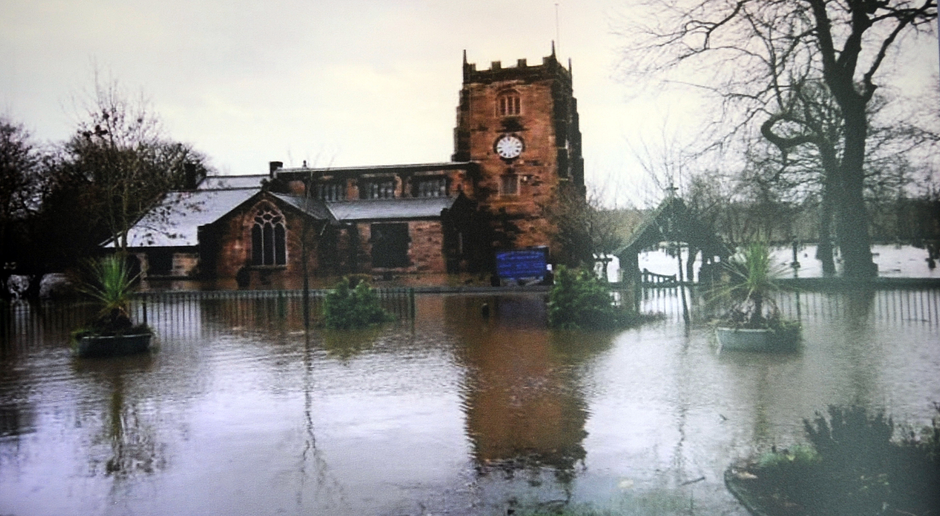FLOODING: Radcliffe Parish Church flooded during the Boxing Day Floods 2015. Picture: Steve Holt