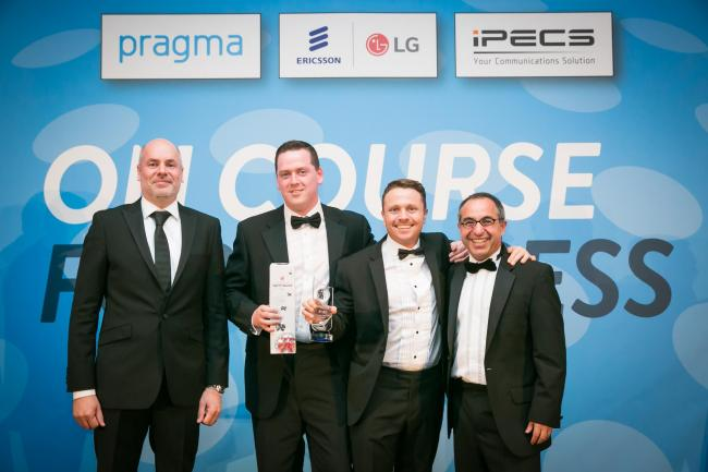 Managing Director, Carl Lowe, and Sales Director, Paul Mahon, collecting their award with Tim Brooks of Pragma and Ahed Alkhatib of Ericsson-LG