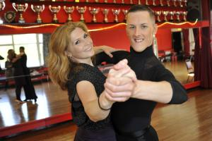 Prince Jack Clegg and Samantha Giles during rehearsals for the Strictly dancing competition at the Macron in May