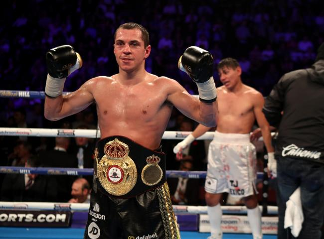 GREAT SCOTT: Scott Quigg celebrates beating Jose Cayetano in his first fight at featherweight in December