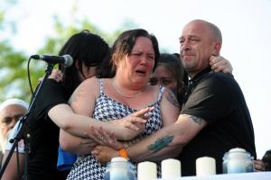 HEARTBROKEN: Charlotte Campbell, mother of Olivia Campbell, speaks at the vigil in Whitehead Gardens, Bury, for victims of the Manchester Arena terror attack