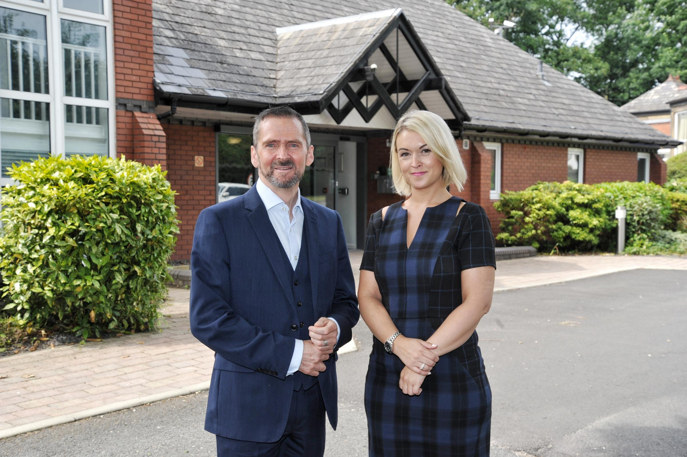CEO: Chief executive Peter Branson is leaving Forget Me Not Children's Hospice. Pictured here with general manager Kirsty Franks at Grace's Place Hospice, Radcliffe
