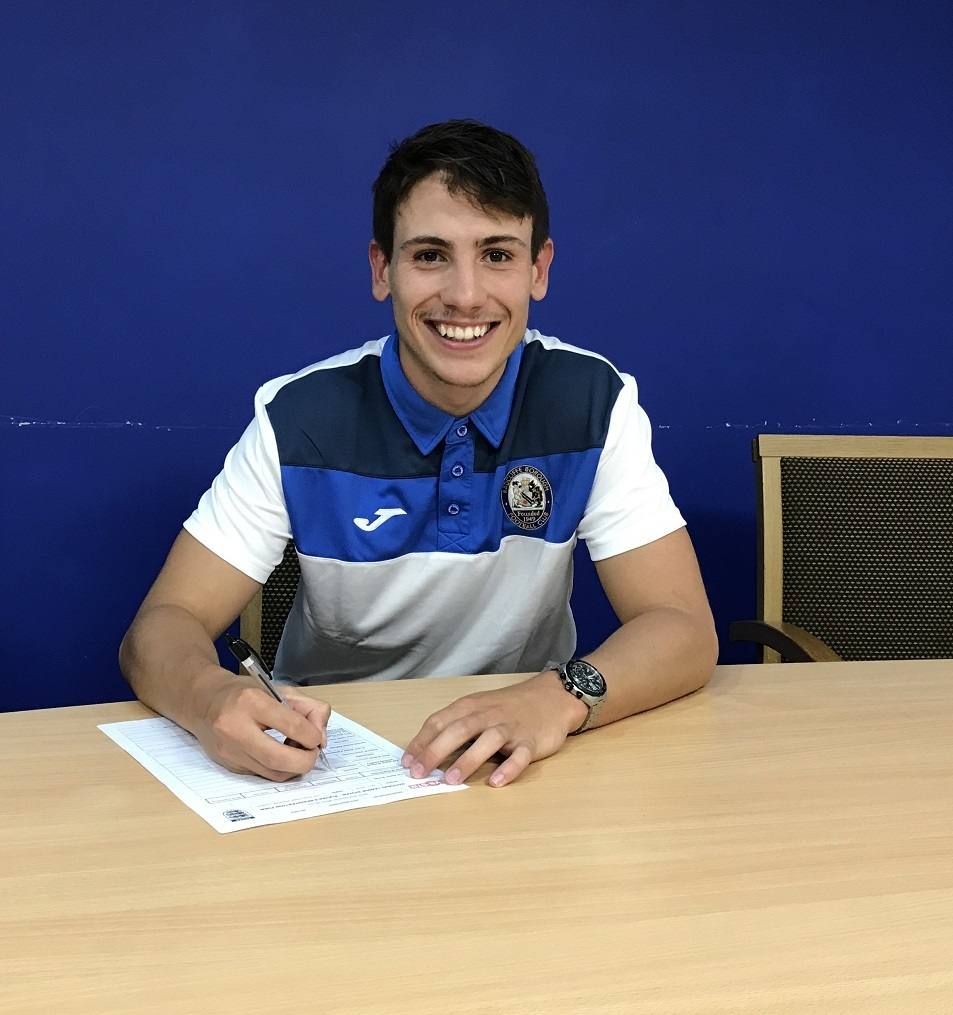 HOMECOMING: Ex-Shrewsbury loan player Callum Grogan signs for Radcliffe Borough