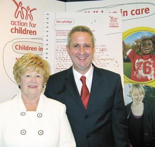 Taking Action for Children are Geraldine Greene and Ivan Lewis at the Labour conference