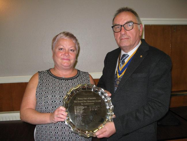 Louise Dawson presented her award by Les Monger, president of Radcliffe Rotary