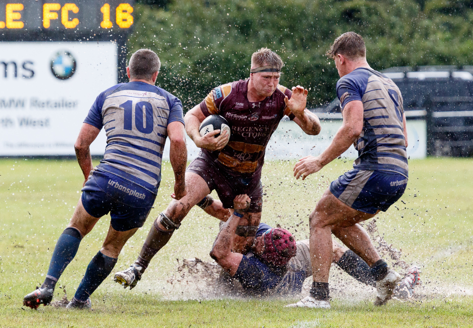 ON THE MARK: Sedgley Park's Hallam Chapman, pictured in action against Sale FC, scored a try against Chinnor