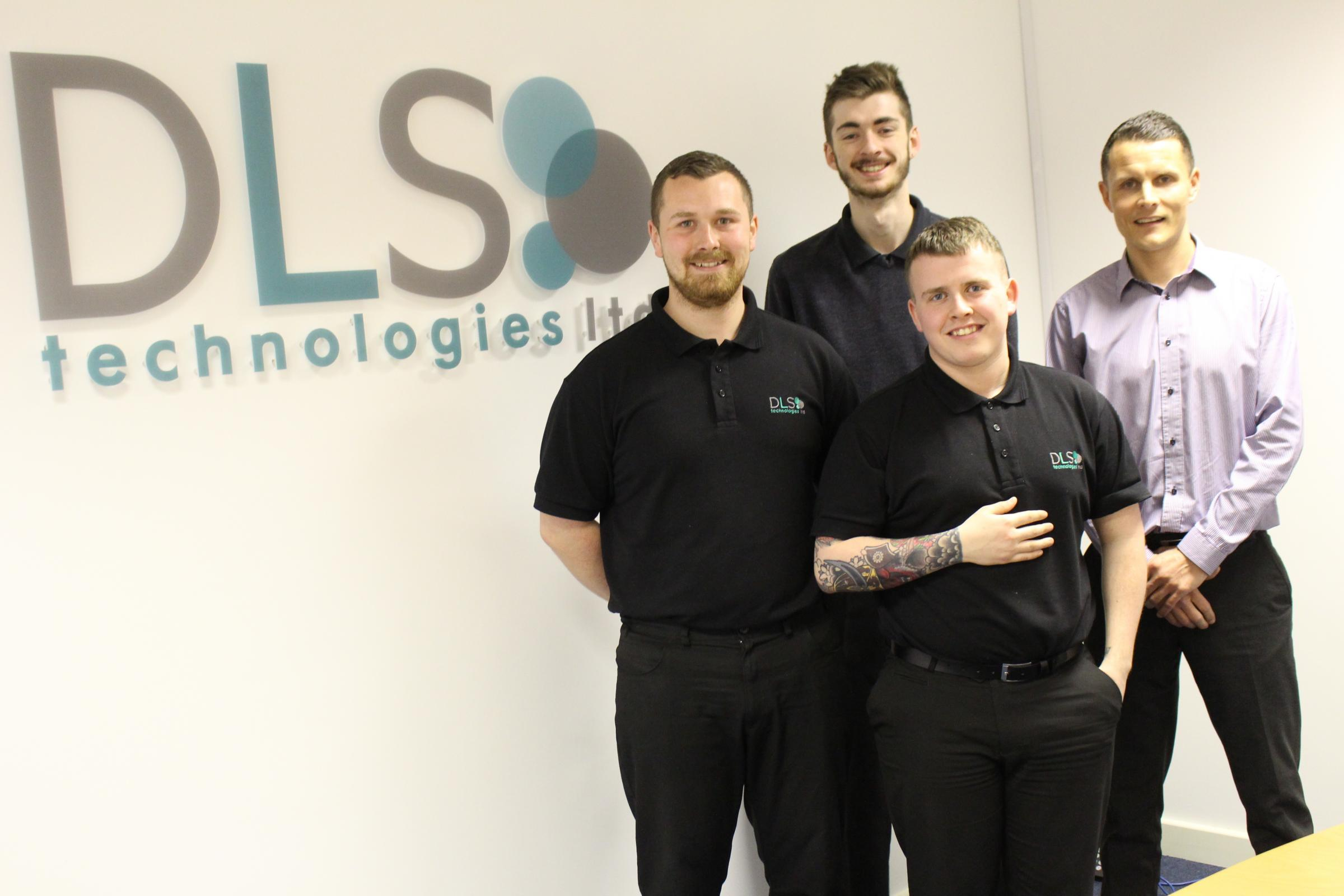 From left, Aaron Sanderson, Thomas Philips, Steven Moore, Liam Anderson. IT Apprentices Programme Business Success.