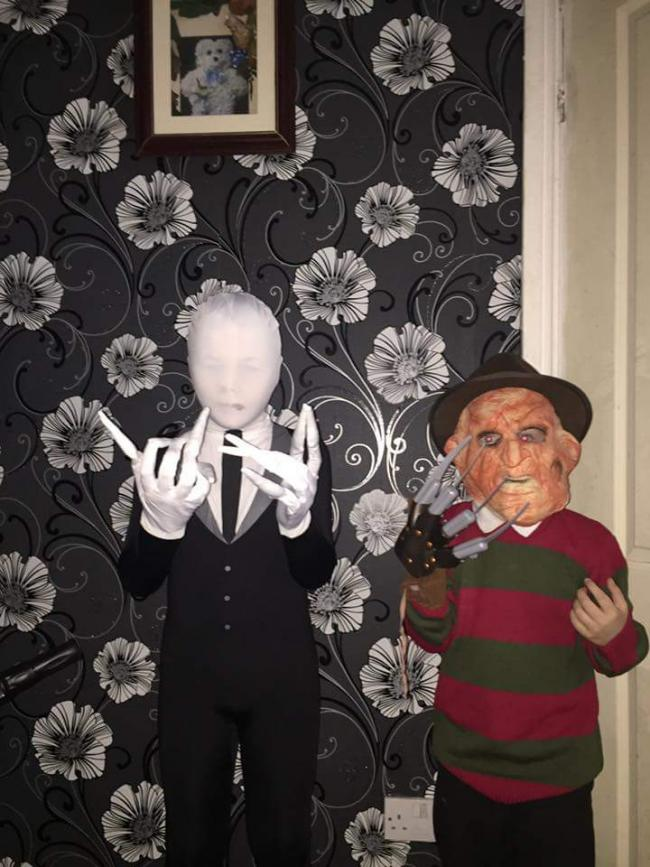 Tj and nathanial hewitt aged 6 and 9 dressed as slenderman and freddy krueger