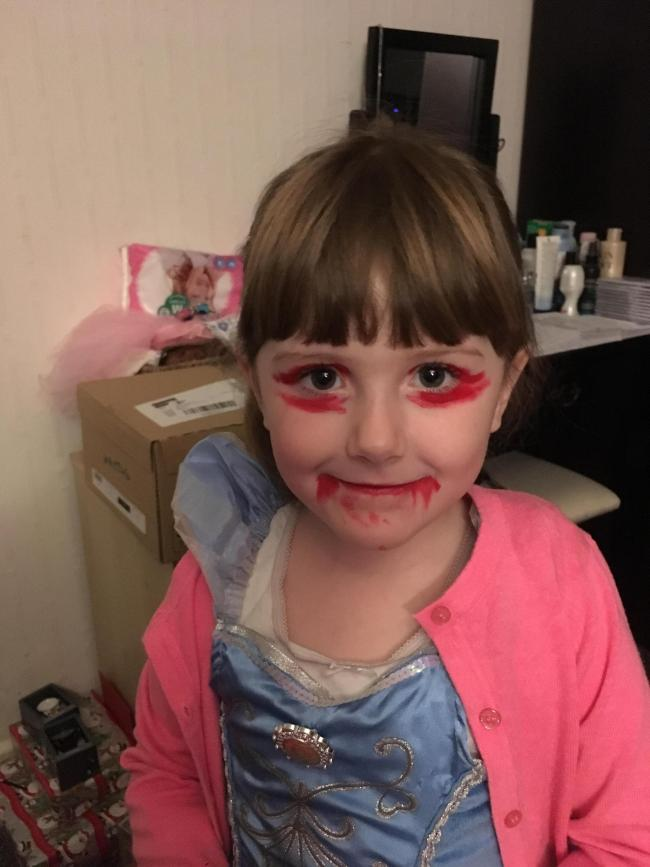 My daughter lily whittle on way to School princess zombie/clown/witch she said :)