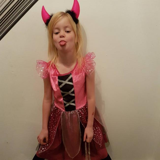 My daughter lacey ready for a halloween party