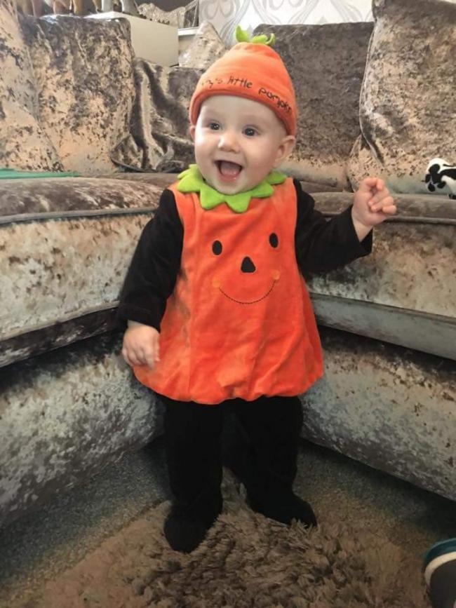 Thomas Taylor from Darcy Lever, first Halloween as a pumpkin