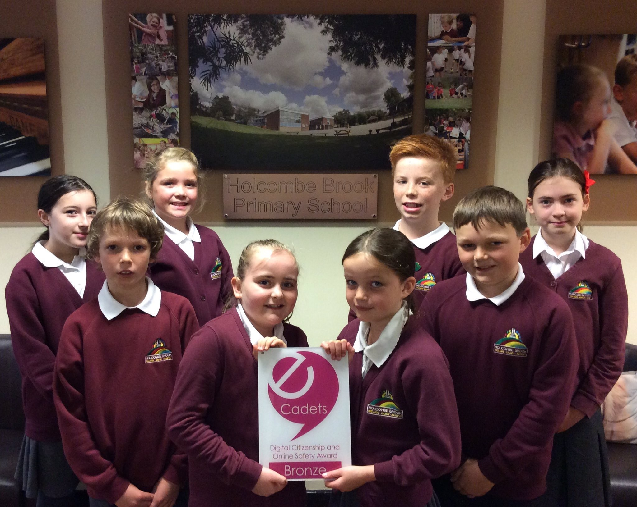 SUCCESS: Pupils at Holcombe Brook Primary School have won National Online Safety Award