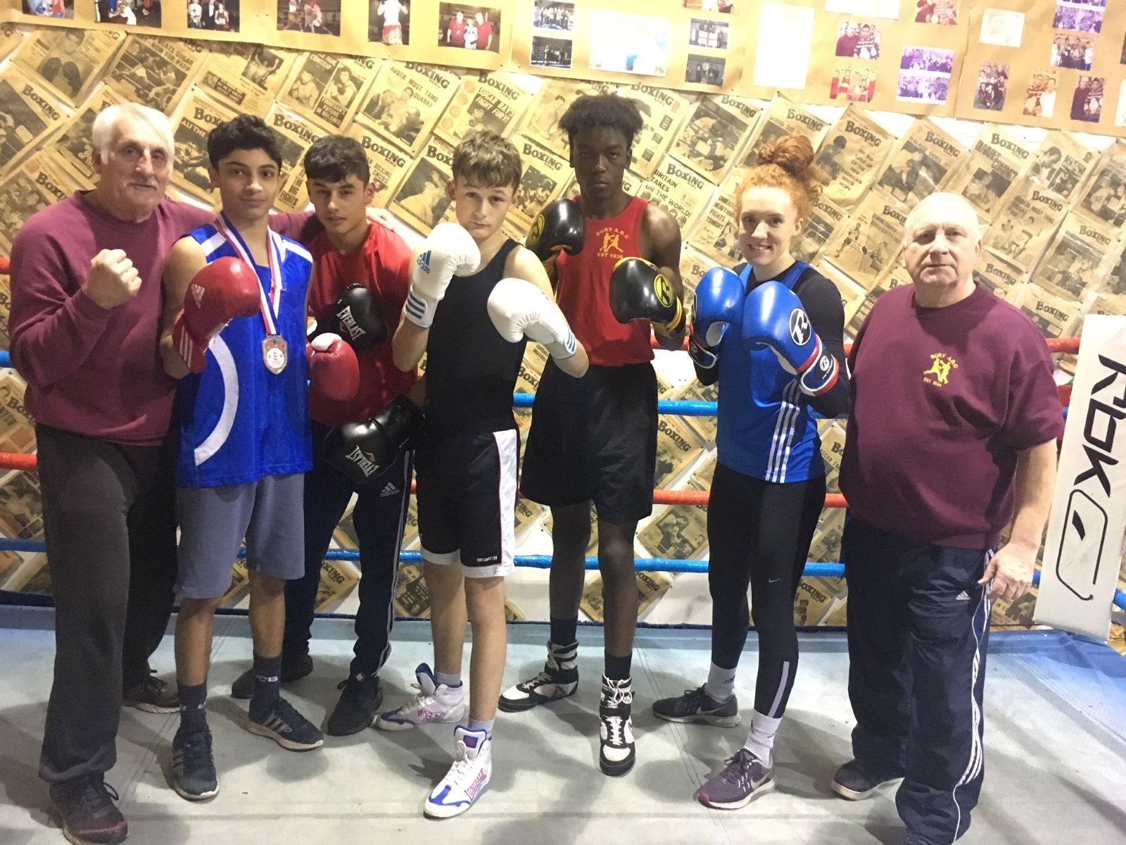 STRONGER TOGETHER: Bury ABC's successful group, from the left, head coach Mick Jelley, Abdul Khan, Yousef Khan, Patrick Gaynor, Golding Makela, Sarah Dunne and coach Colin Carr