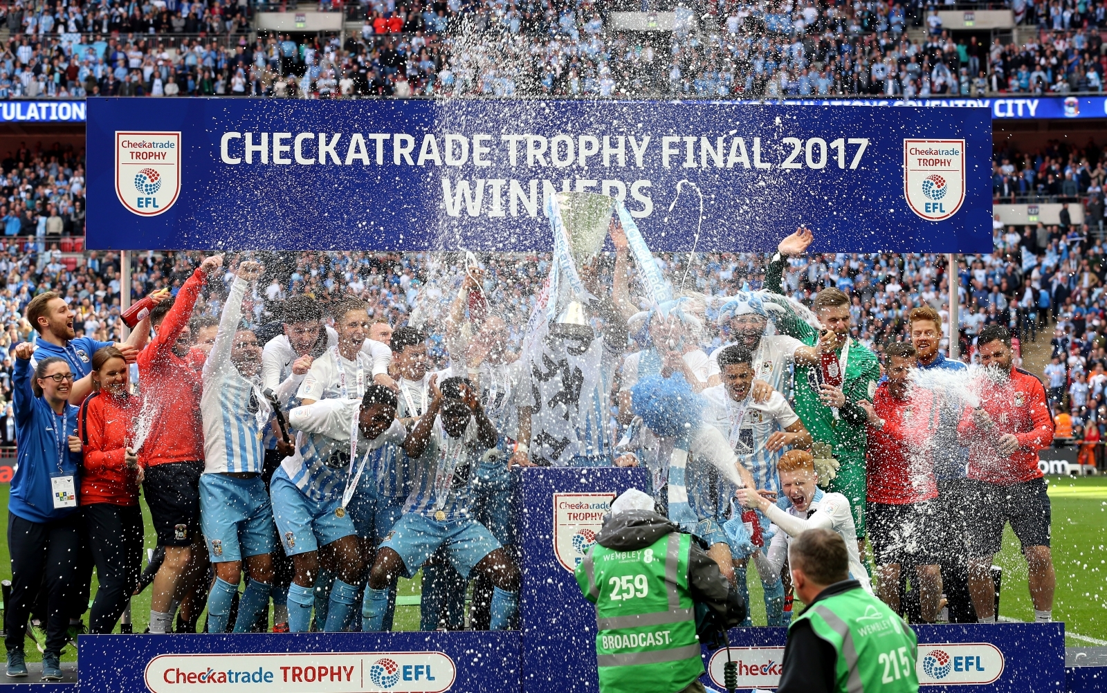 Coventry City players celebrate after winning the Checkatrade Trophy final at Wembley Stadium earlier this year