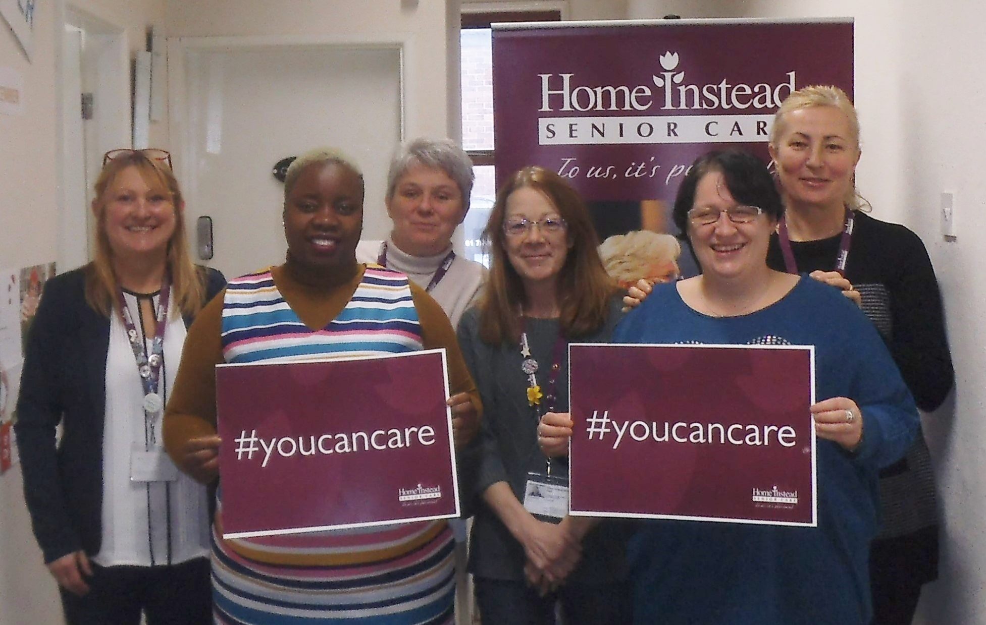 Caroline Allen, Esther Kachingwe, Lisa Hughes, Vicky Ingham, Joanne Carroll & Vera Tsygankova from Home Instead Senior Care supporting #youcancare
