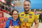 Dawn Fidler with Salford Red Devils' George Griffin