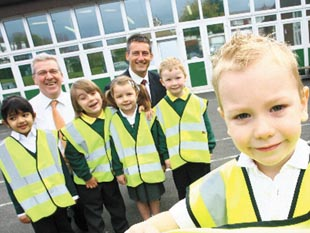 Greenhill Primary pupils with their new safety vests