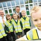 Bury Times: Greenhill Primary pupils with their new safety vests