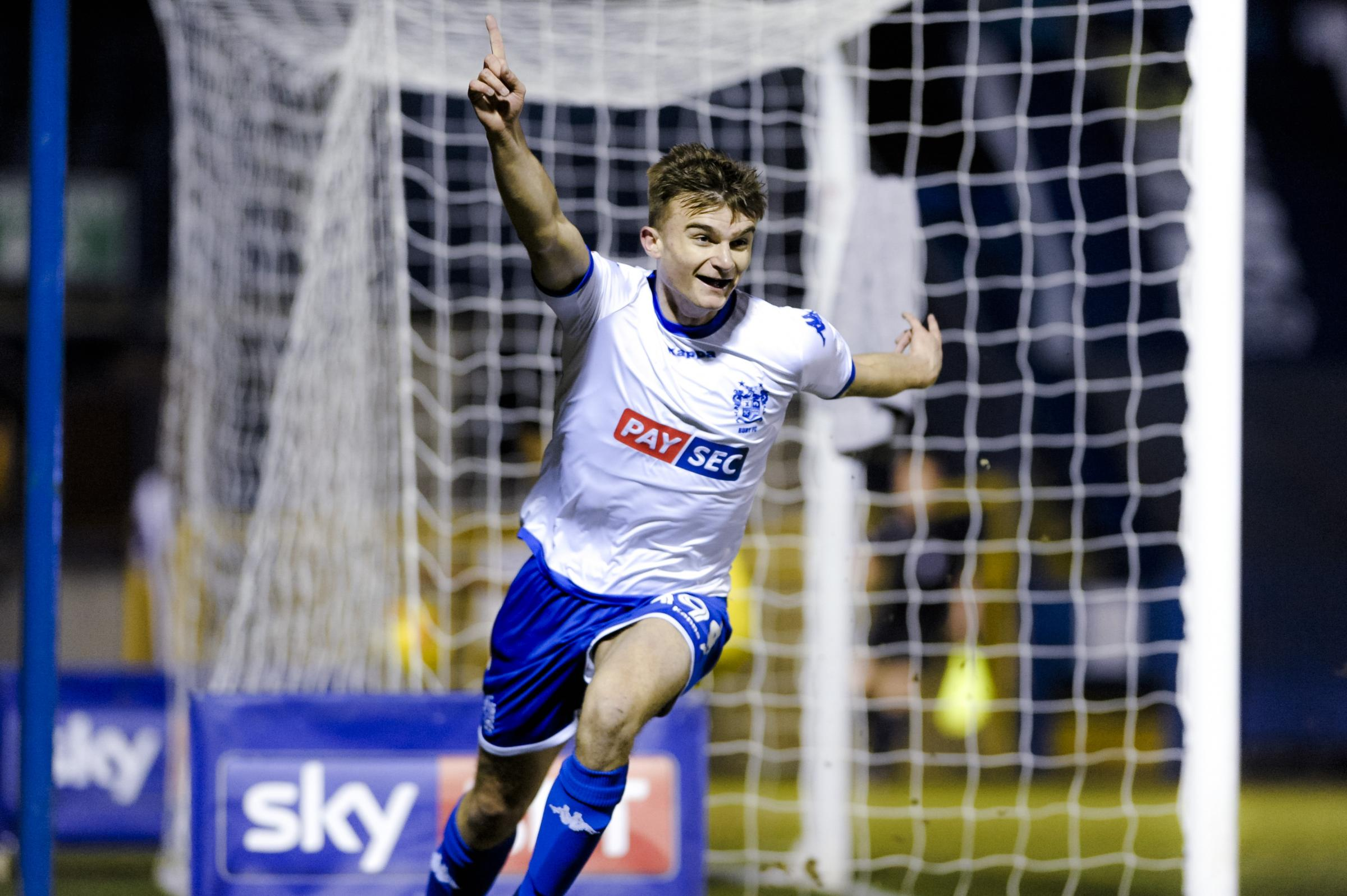 MILLER THRILL: Bury forward George Miller is delighted as he celebrates his goal against AFC Wimbledon. Picture by Andy Whitehead Photography