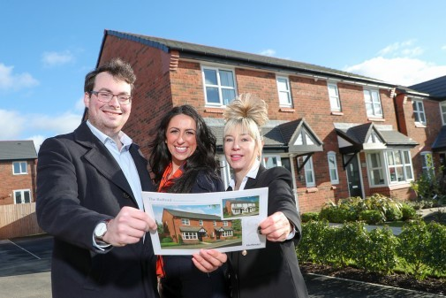 Councillor Eammon OBrien, Bellway Homes' Natalie Dahmane and Jackie Summerscales at the Salisbury Fields development in Radcliffe