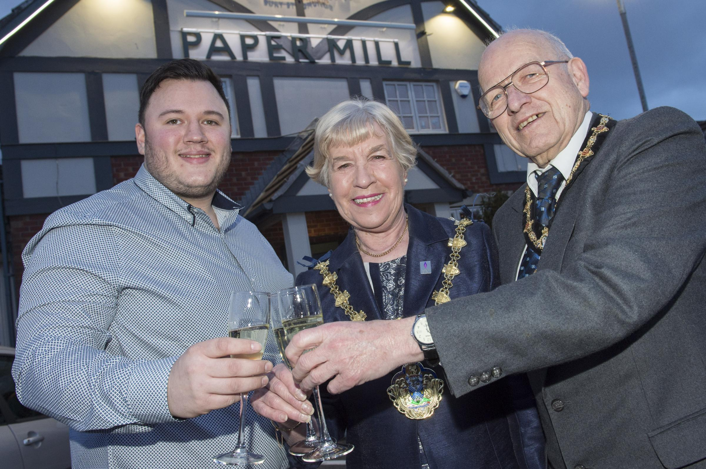 Nick Bidwell, The Mayor of Bury Councillor Dorothy Gunther and Mike Gunther at the Paper Mill's official reopening