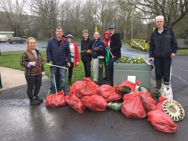 The volunteers collected 20 bags of litter in and around Nuttall Park