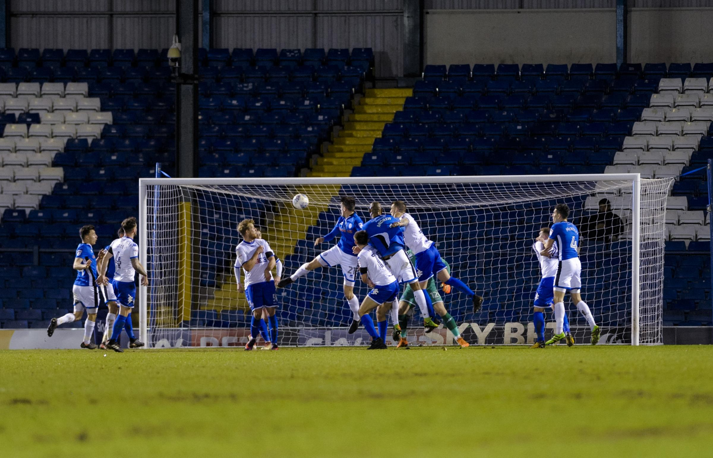 Rochdale defender Ryan Delaney (21) opens the scoring during the Sky Bet League 1 match between Bury FC and Rochdale at Gigg Lane. Picture by Andy Whitehead