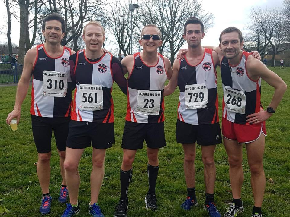 BEST TIMES: Some of the Bury AC finishers in the Salford 10k, from left, Giles Bennett, Paul Johnston, Byron Edwards, Josh Birmingham and Ben Jones