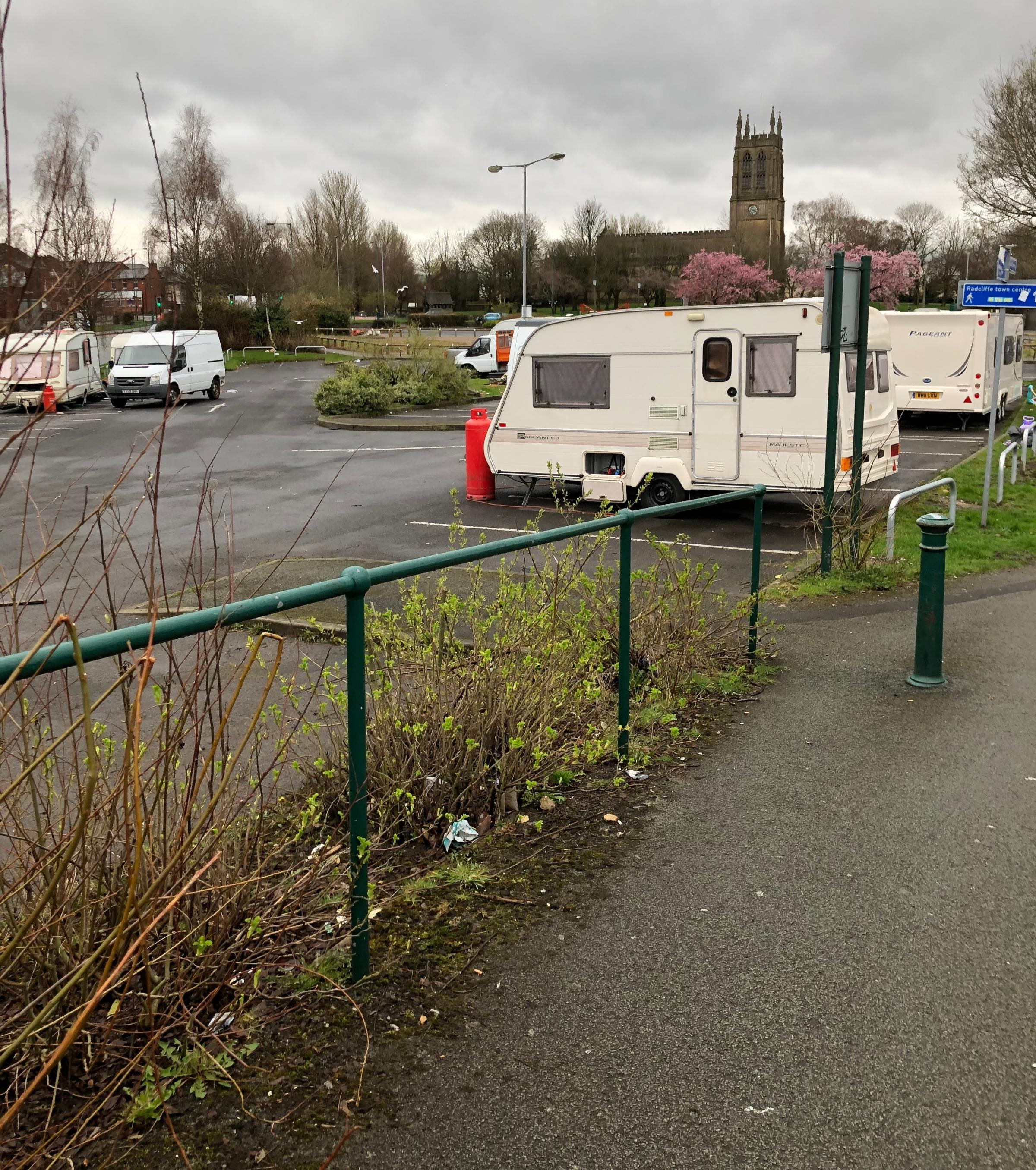 CARAVANS: The travellers who set up in Radcliffe have moved on