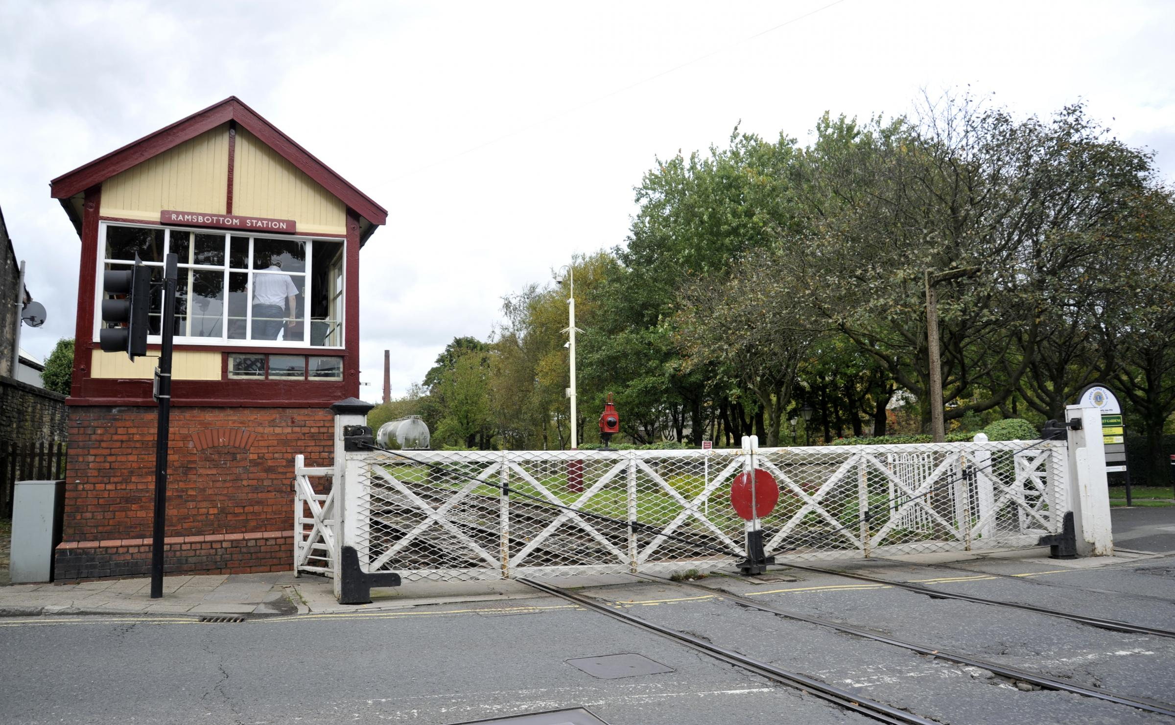 The trolley crashed into a level crossing gate close to Ramsbottom Station