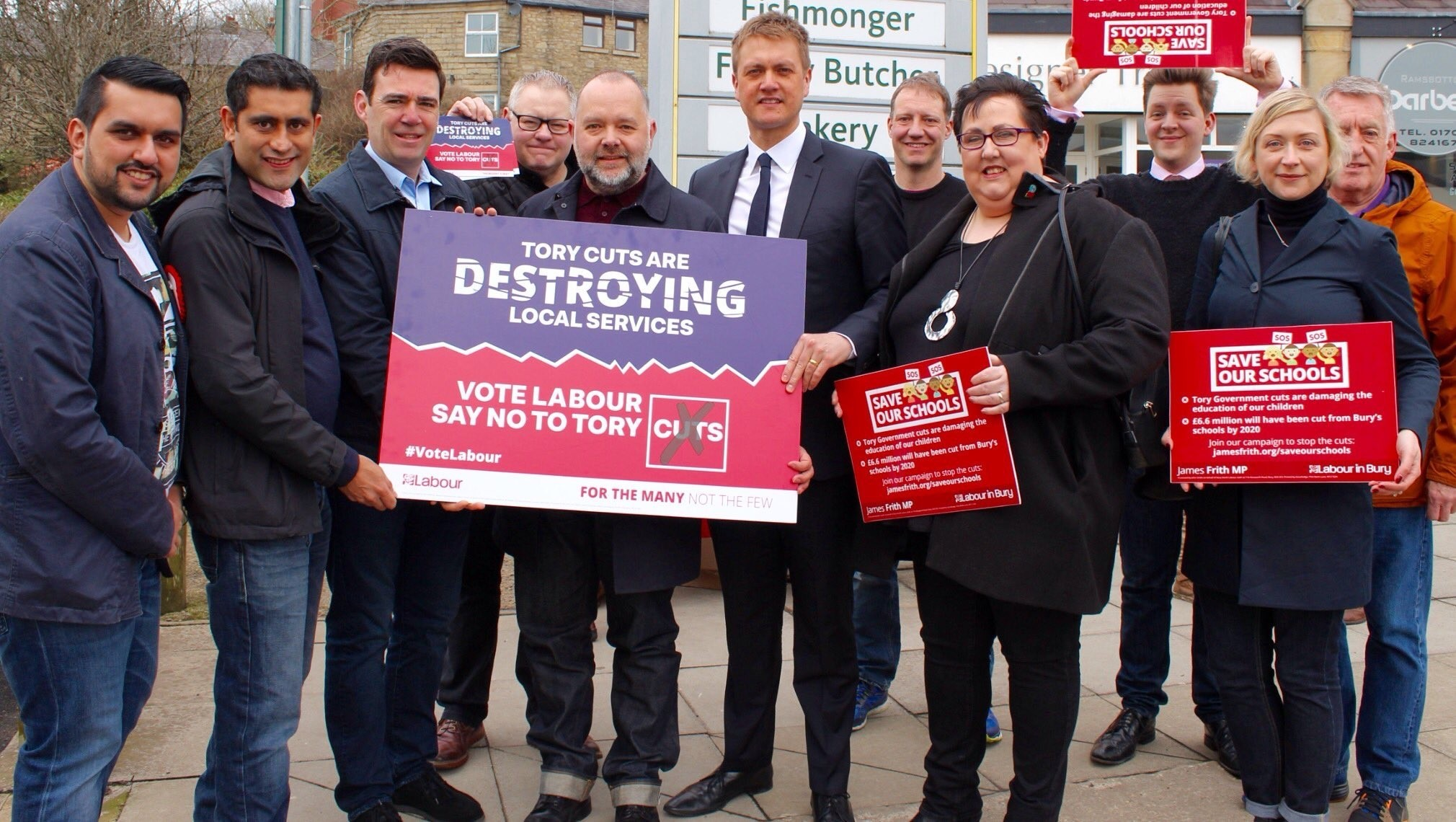Andy Burnham was joined in Ramsbottom by Labour election candidate Kevin Thomas, Bury Council leader Rishi Shori, Bury North MP James Frith, and others