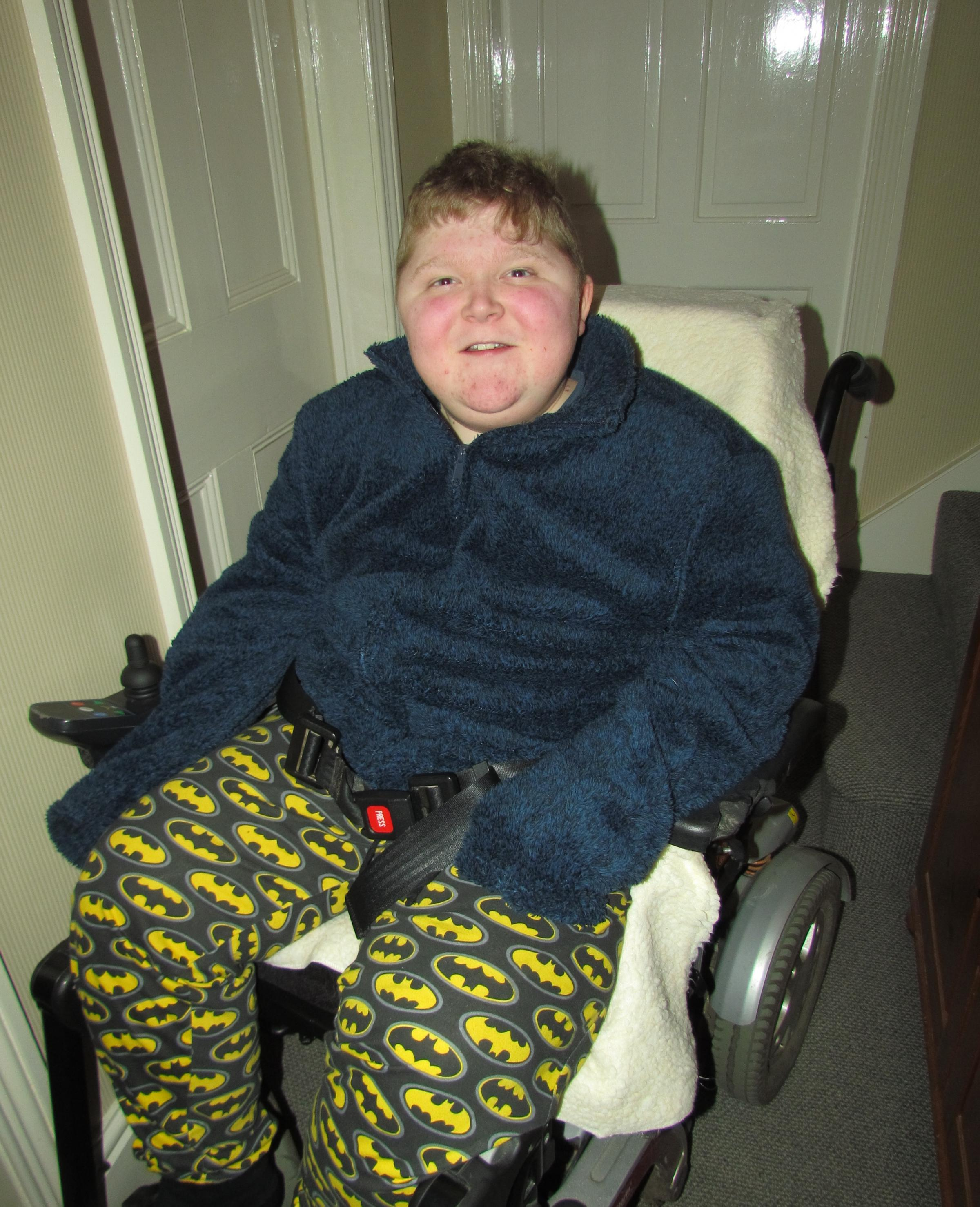 DIAGNOSED: Jason Thornton, aged 16, has had Duchenne Muscular Dystrophy since he was four