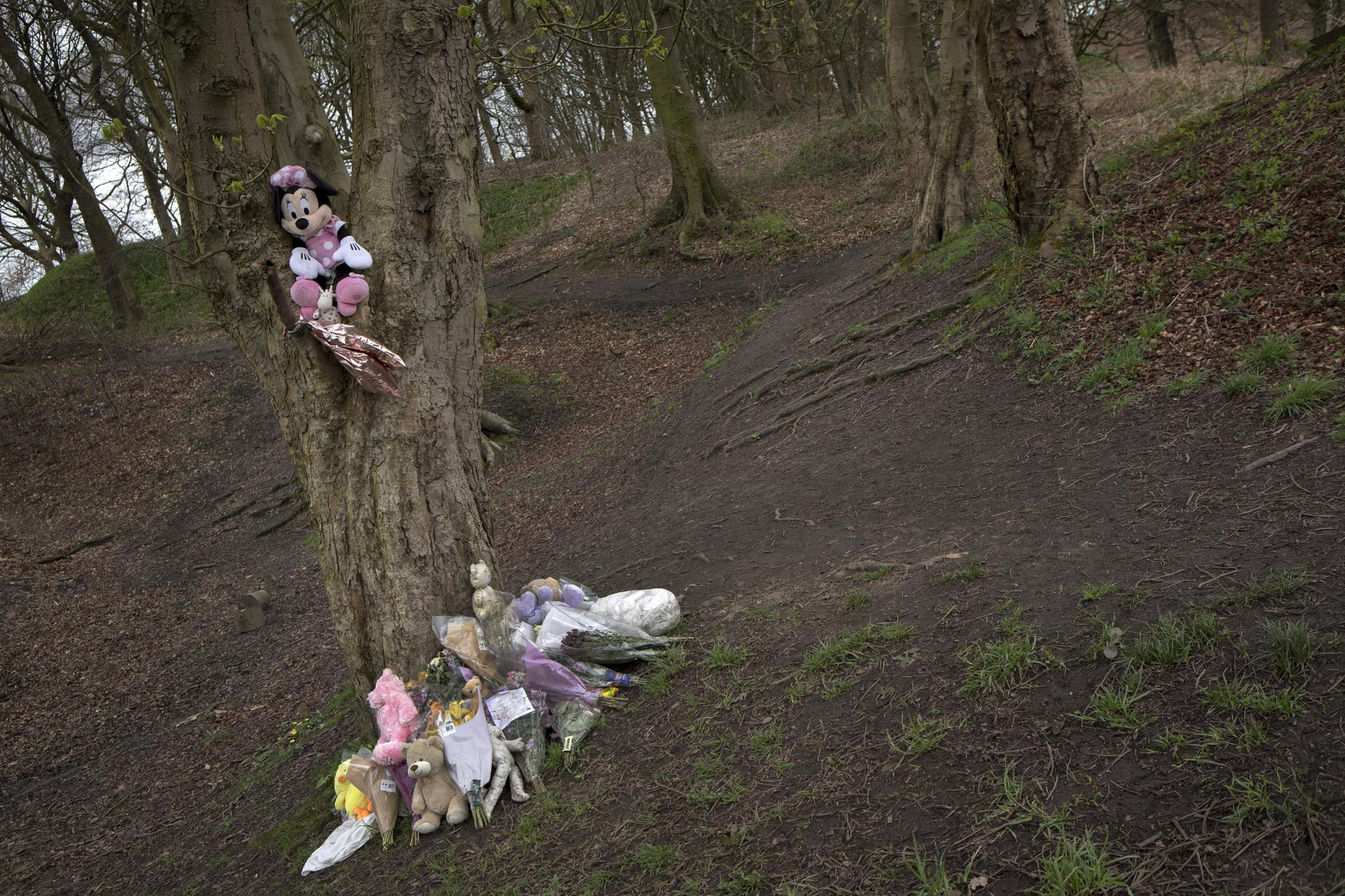 Tributes left to Baby Pearl whose body was found in woodland in Heywood