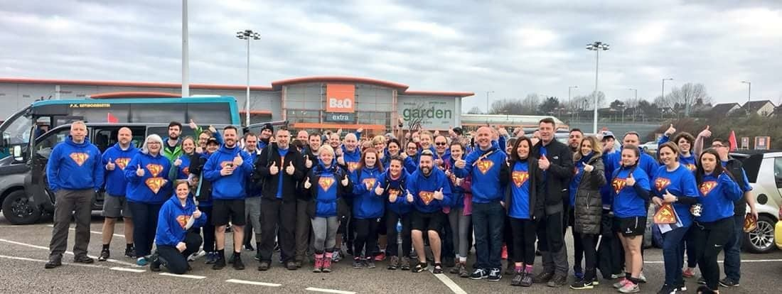 SuperJosh Thumbraisers prepare to walk from Blackpool to Bury