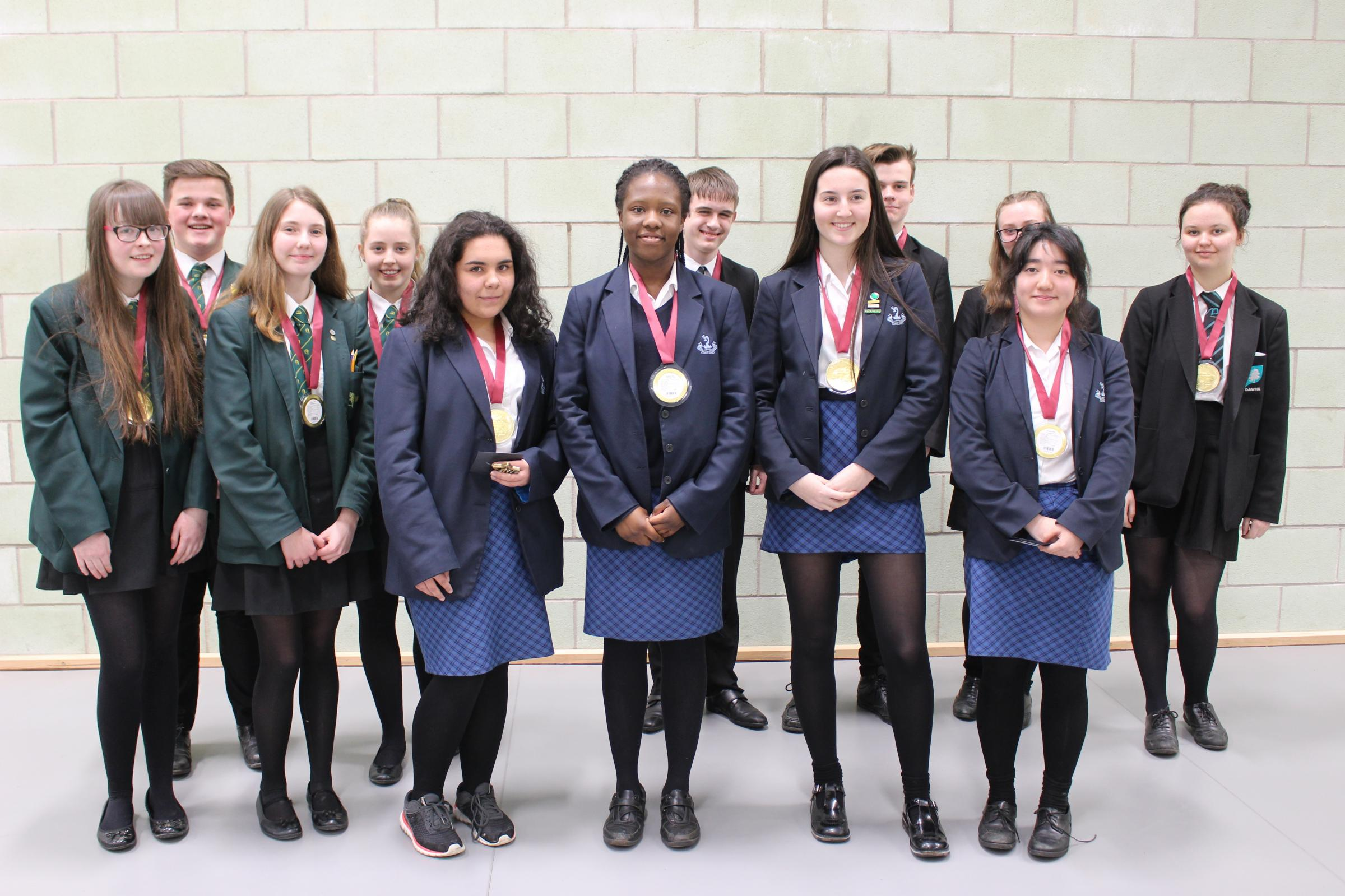 SUCCESSFUL: Bury Grammar School Girls secured first place, Wardle Academy second place and Oulder Hill third place