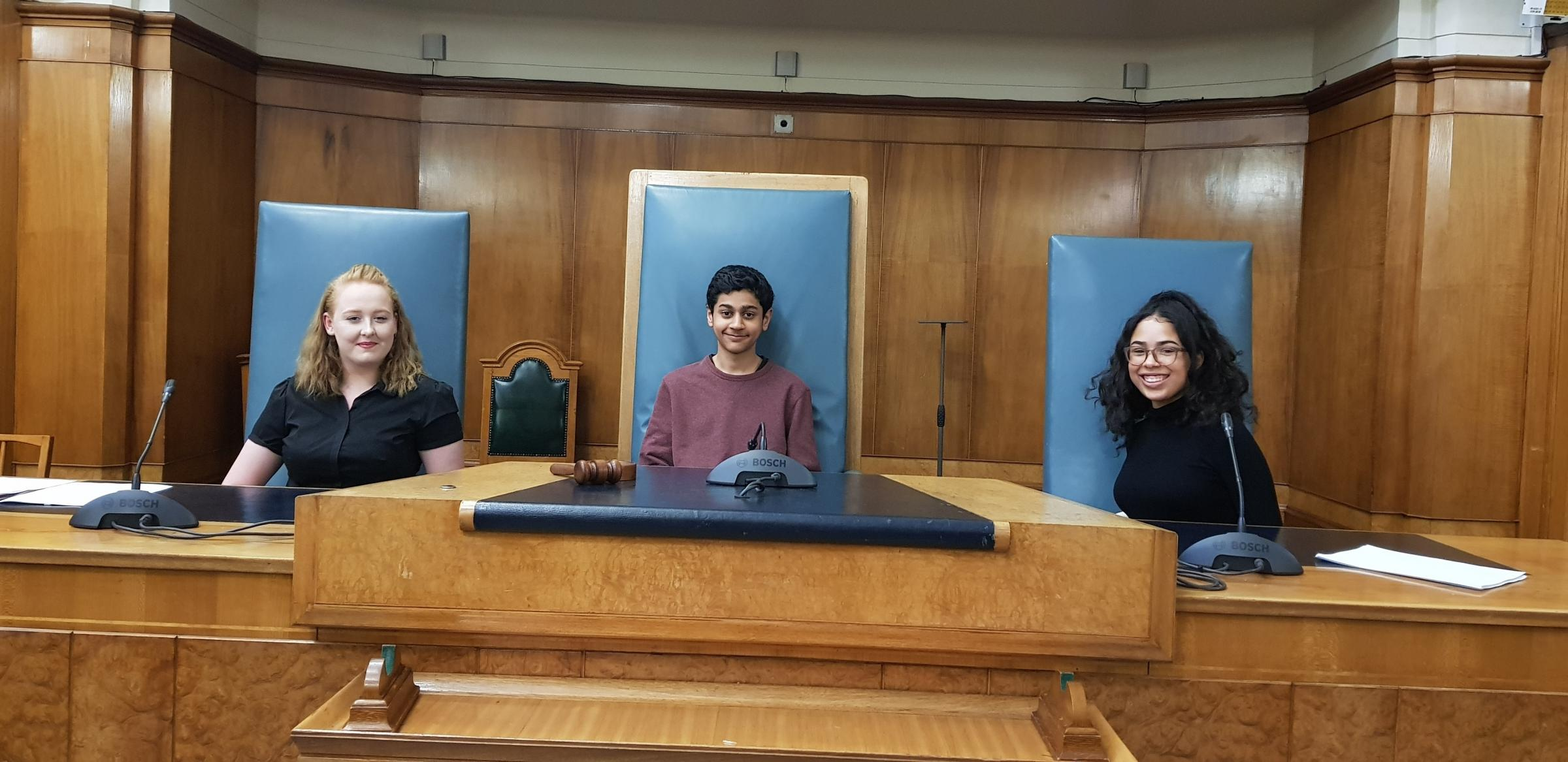 CABINET: From left, Bury's deputy member of youth parliament, Bethanie Mortenson, Bury Member of Youth Parliament Numair Khalid and Deputy Member of Youth Parliament Viktoria Ouomble
