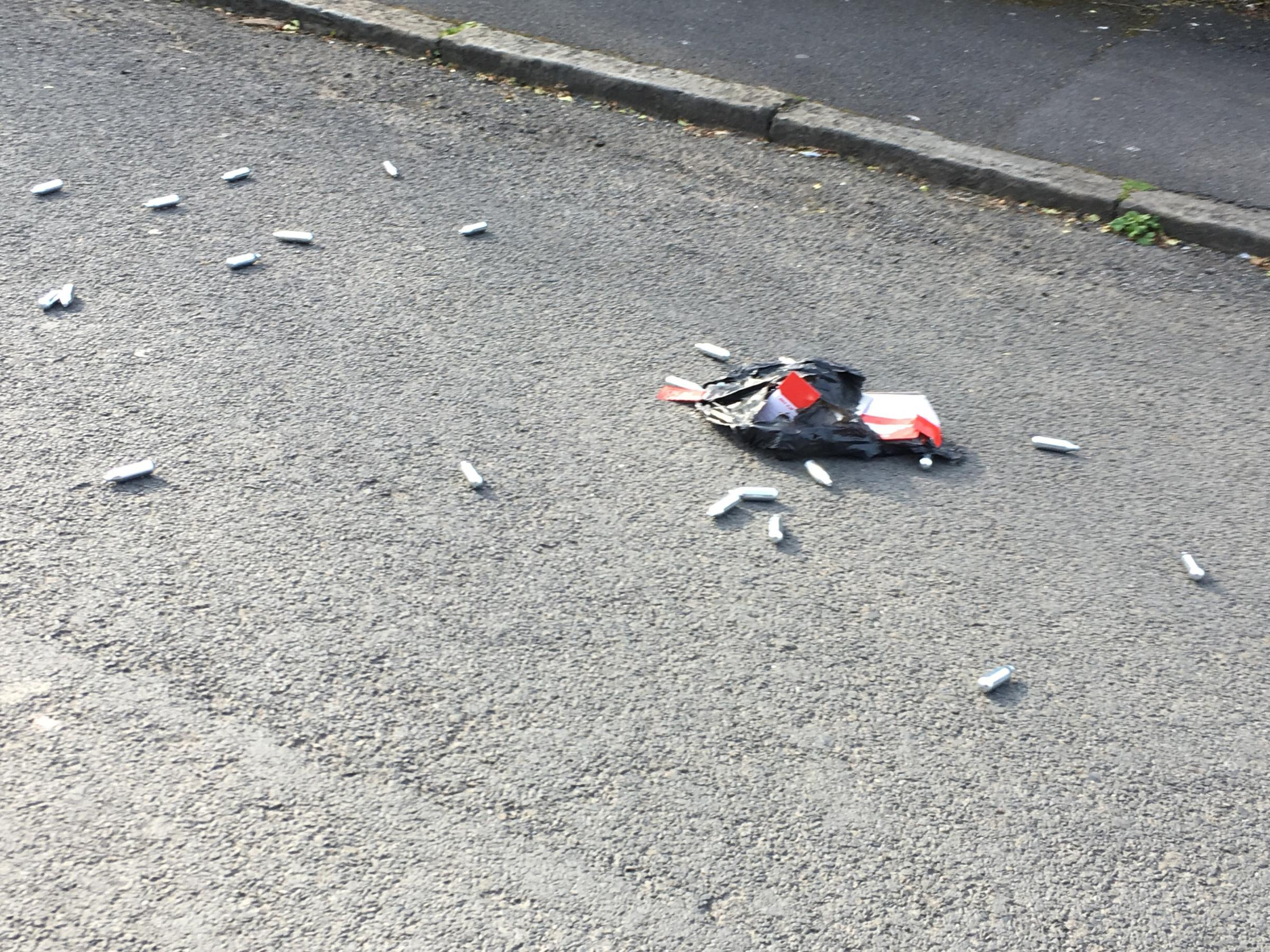 Nitrous Oxide canisters spotted by Kate Lurie in Prestwich