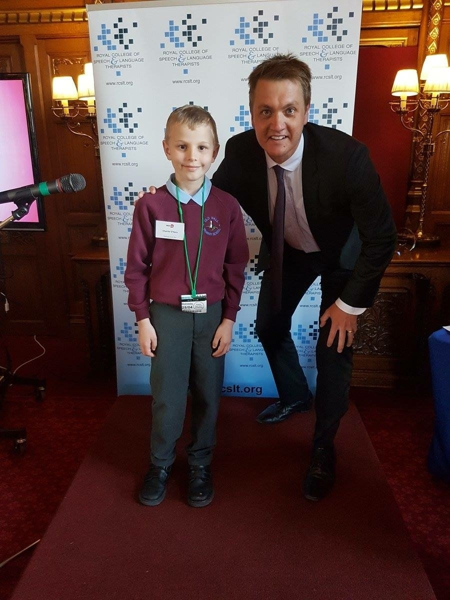 FINALIST: Charlie O' Hara with James Frith, MP for Bury North, at the Voice Box awards in Westminster