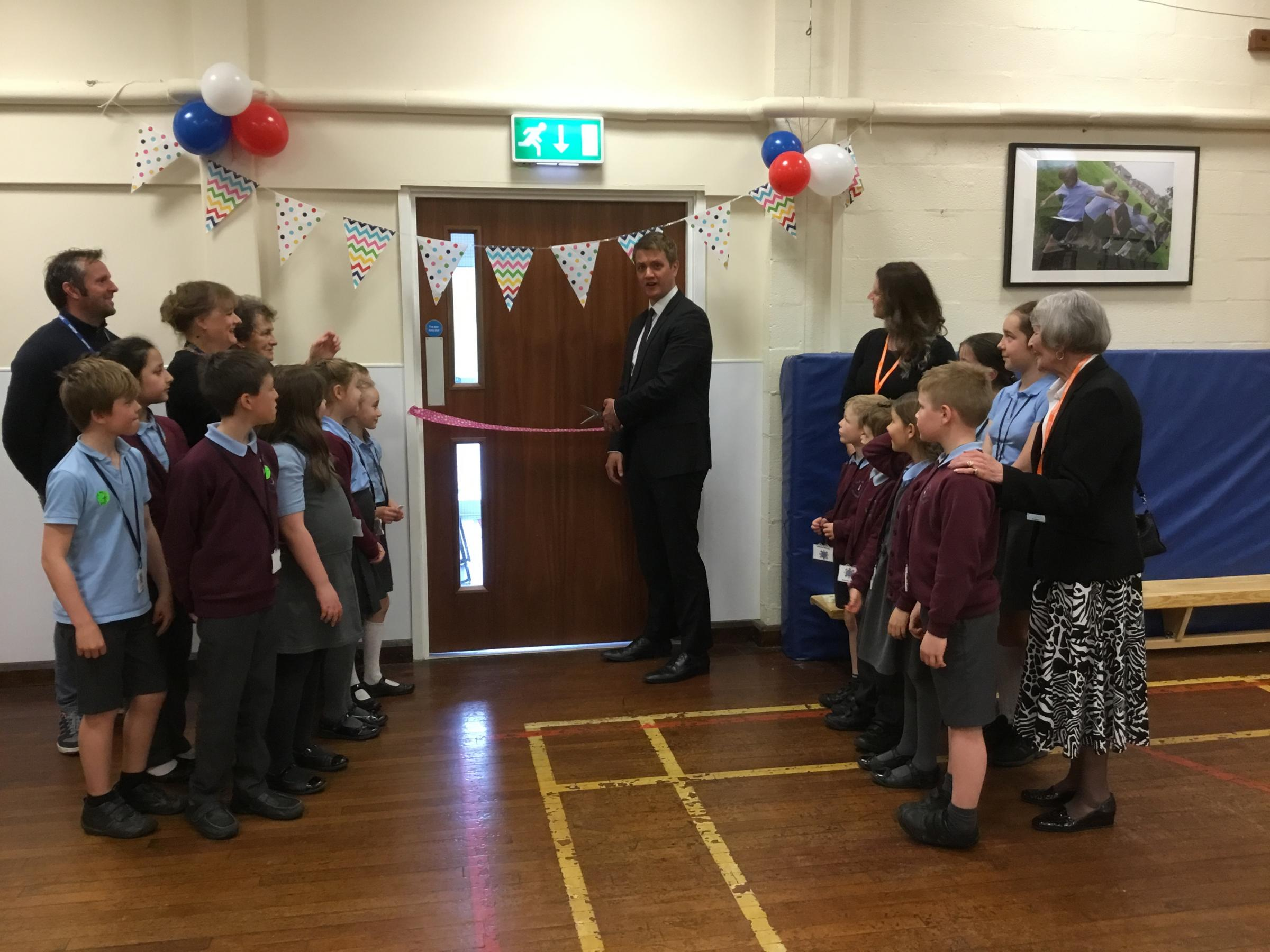 Bury North MP James Frith officially opens the new annex at Old Hall Primary School