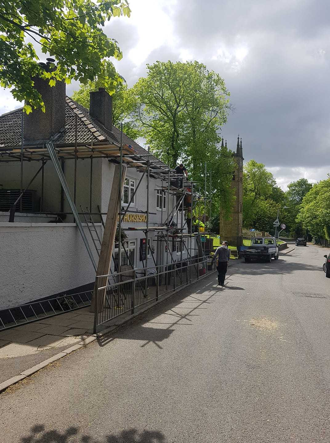 ROOFING: Scaffolding was in place at The Horseshoe Inn, Ringley, while a new roof was installed