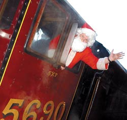 Father Christmas on the ELR Santa Special at Bolton Street station in Bury