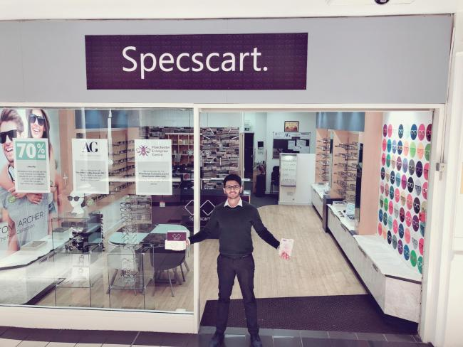 Specscart founder Siddharth outside his Walkden shop