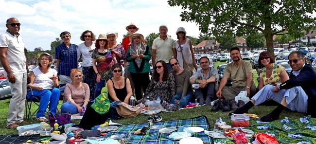 Picnickers at the annual Muslim-Jewish Forum Picnic in Heaton Park