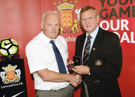 Howard Croft, left, with Lancashire FA Chairman, Roger Haydock
