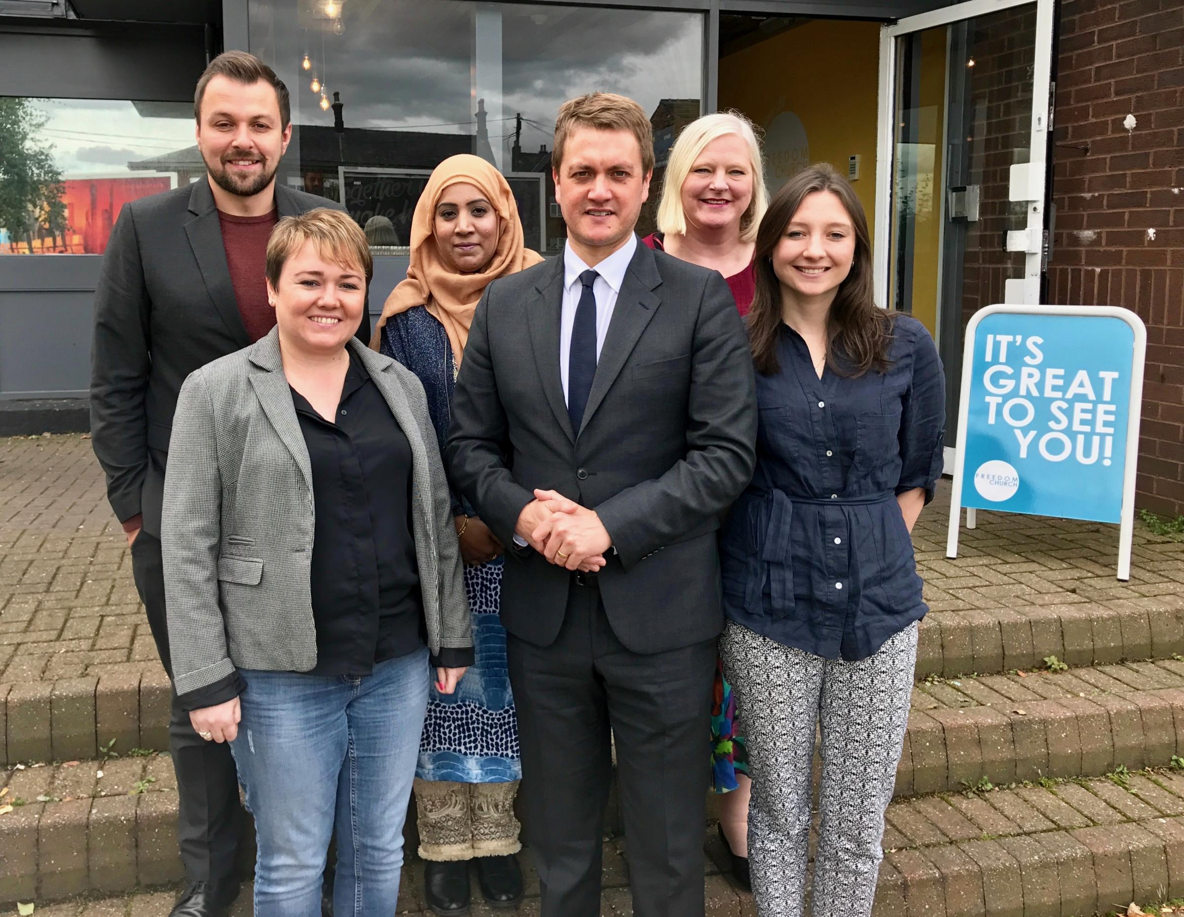 Pictured left to right: Kevin Peel, Sandra Walmsley, Ummrana Farooq, James Frith, Jeanette Ingham and Frances Cosby