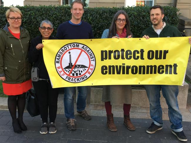 PROTEST: Cllr Sandra Walmsley (left) joins anti-fracking campaigners outside Bury Town Hall