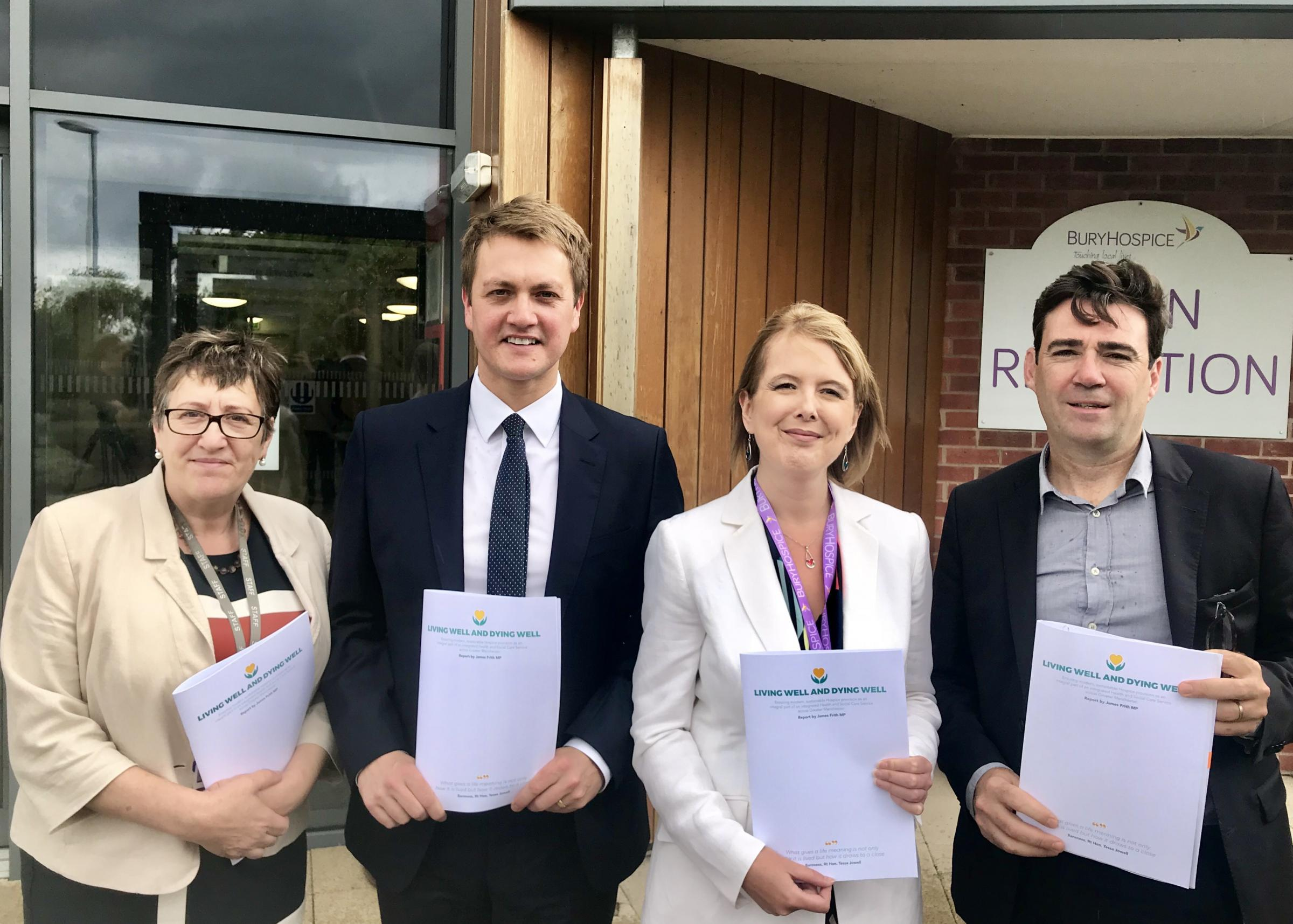 Dr Leigh Vallance, Chair of GM Hospice Group; James Frith, MP for Bury North; Tracey Bleakley, Chief Executive of Hospice UK; Andy Burnham, Mayor of Greater Manchester.